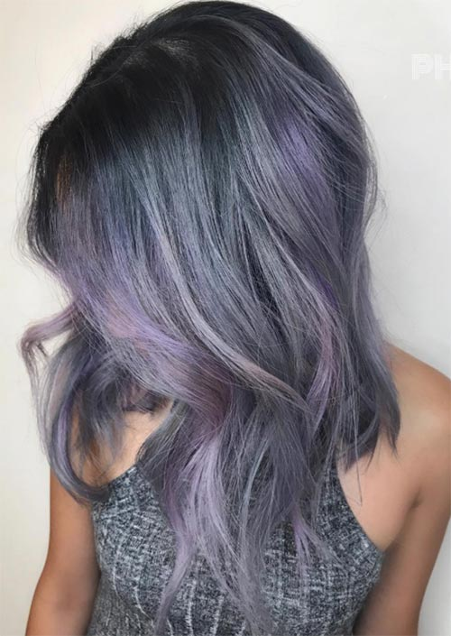 Winter Hair Colors Ideas & Trends: Lavender Smoke Hair