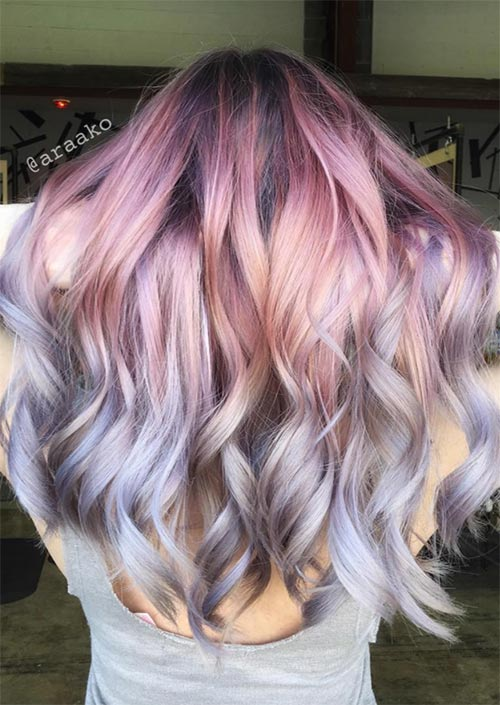 Winter Hair Colors Ideas & Trends: Metallic Pastel Hair
