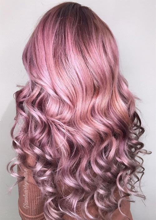 Winter Hair Colors Ideas & Trends: Metallic Pink Hair