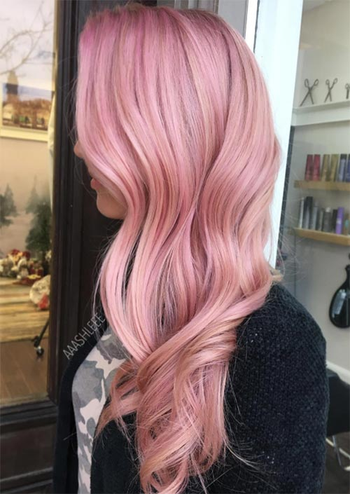 Winter Hair Colors Ideas & Trends: Pastel Pink Hair