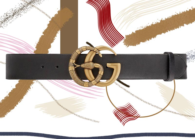Best Gucci Belts for Women of All Time: Gucci Leather Belt with Double G Buckle with Snake