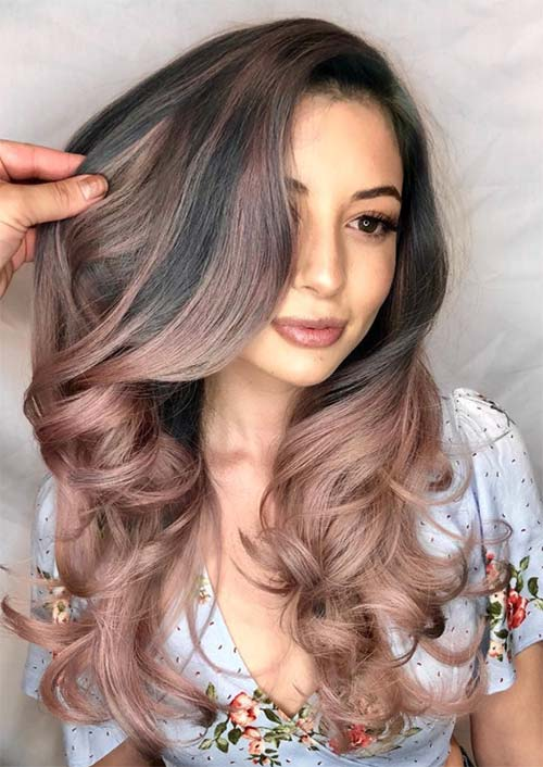 Spring Hair Colors Ideas & Trends: Ash Rose Gold Ombre Hair