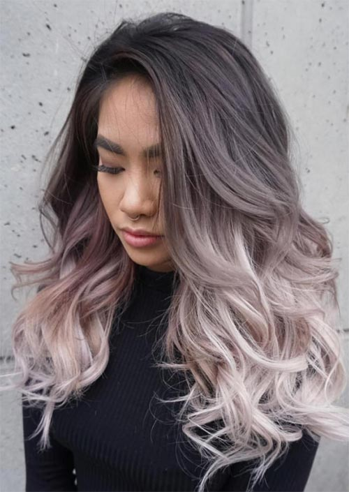 Spring Hair Colors Ideas & Trends: Charcoal Silver Pink Hair