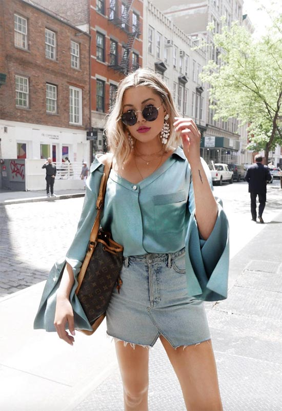 Denim Mini Skirt Outfits Ideas