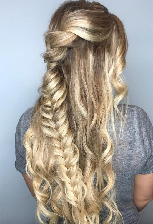Long Hair Braids: Braided Hairstyles for Long Hair: Braided Half-Up Hair