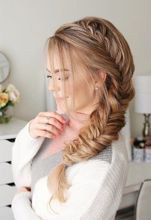 Long Hair Braids: Braided Hairstyles for Long Hair: Side Fishtail Braid