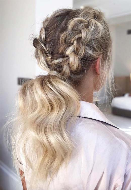 Long Hair Braids: Braided Hairstyles for Long Hair: Double Dutch Braid Ponytail
