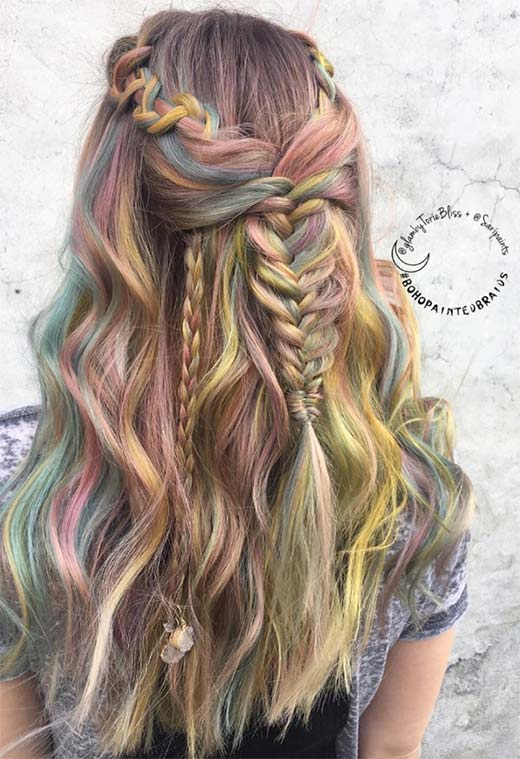 Long Hair Braids: Braided Hairstyles for Long Hair: Half-Up Boho Braids