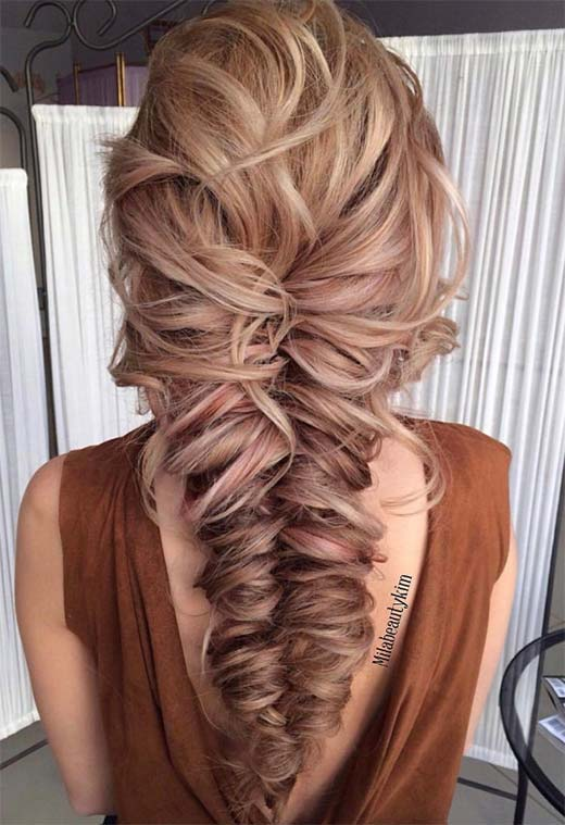 Long Hair Braids: Braided Hairstyles for Long Hair: Messy Chunky Fishtail Braid