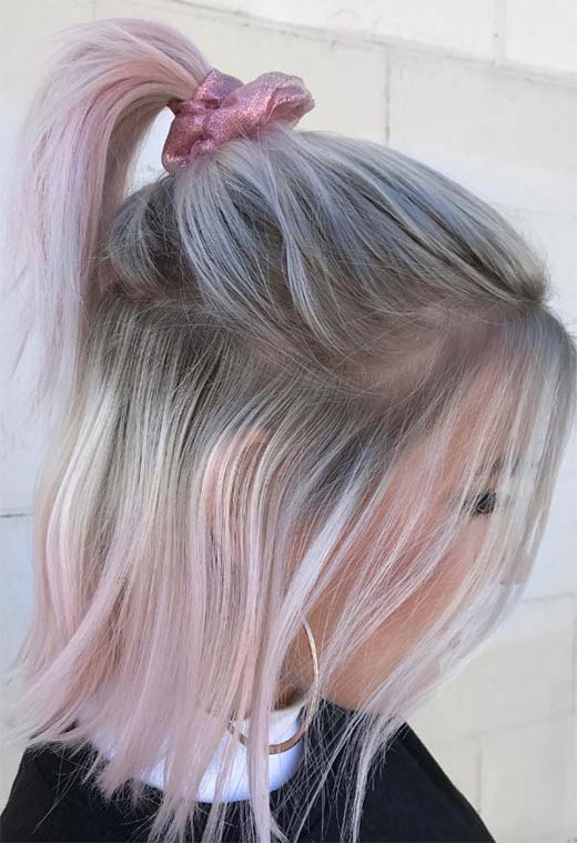 Summer Hair Colors Ideas & Trends: Ice Pink Hair Color