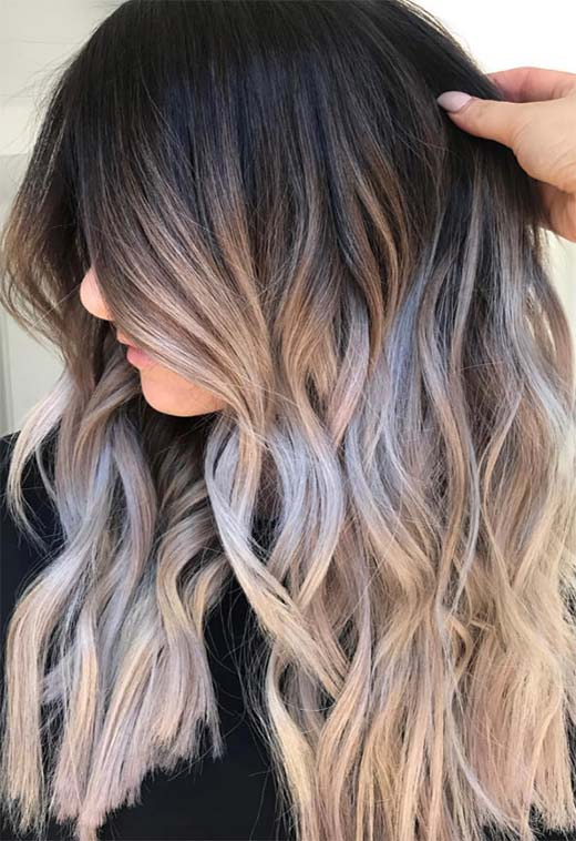 Summer Hair Colors Ideas & Trends: Ombre Charcoal Blonde Hair Color