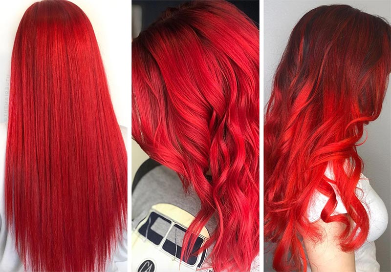 Red Hair Shades & Color Ideas: Fire Engine Red Hair Color