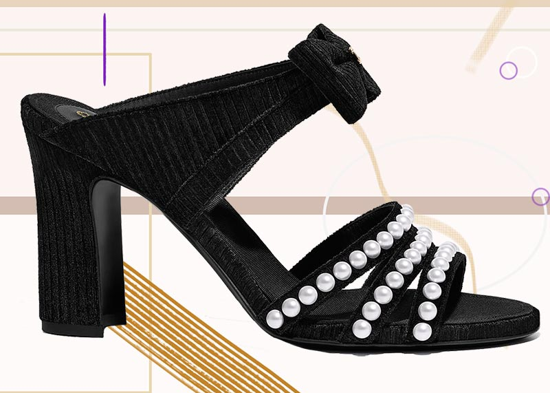Best Chanel Shoes for Women: Chanel Pearl & Velvet Strappy Mules