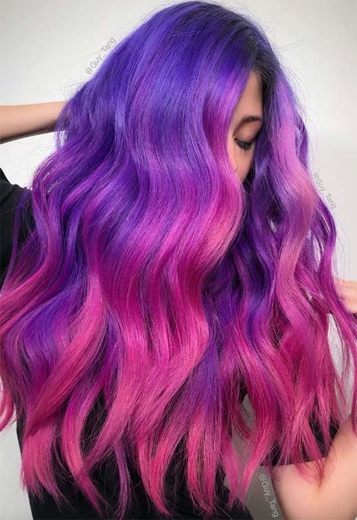 Violet/ Purple Hair Color Ideas: Purple Hair Dye Tips