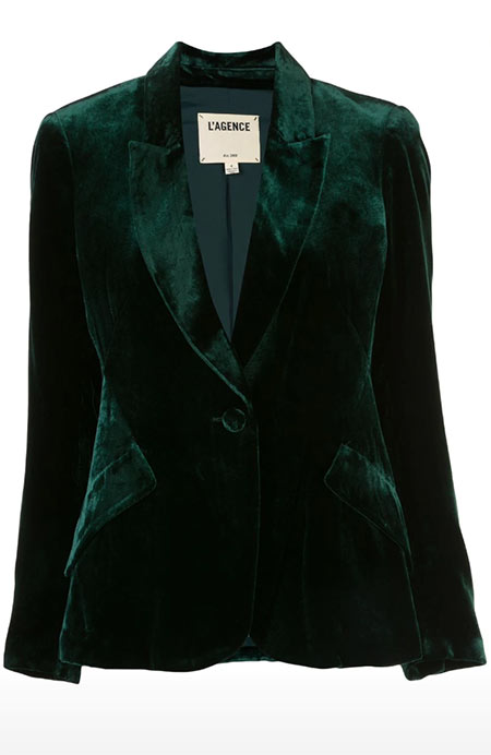 Chic Velvet Dresses, Tops, Jackets and More to Shop: L'Agence Chamberlain Velvet Blazer