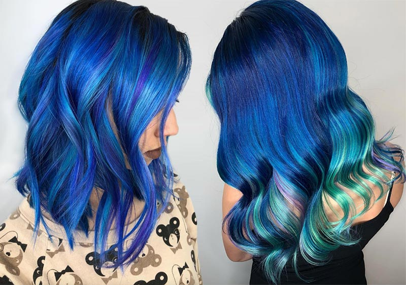 Iridescent Blue Hair Color Shades & Blue Hair Dye Tips