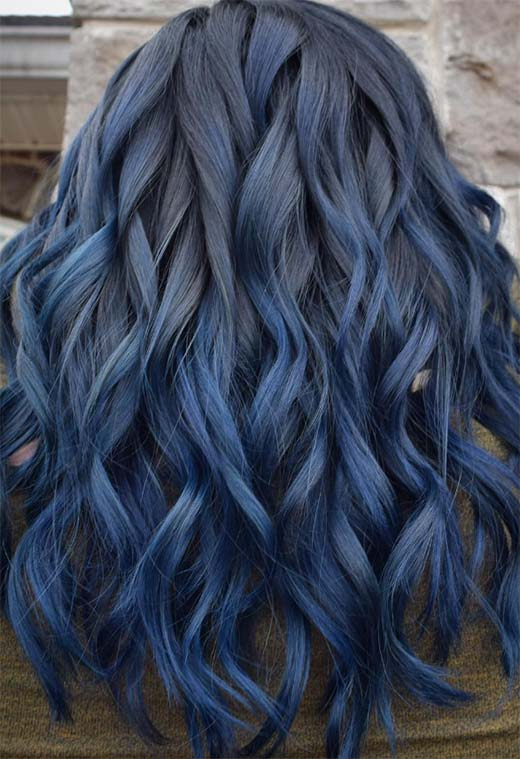 65 Iridescent Blue Hair Color Shades Blue Hair Dye Tips Glowsly