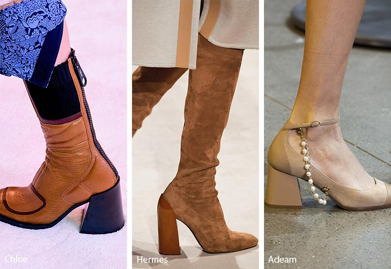 Fall/ Winter 2019-2020 Shoe Trends: Shoes & Boots with Flared Blocky Heels
