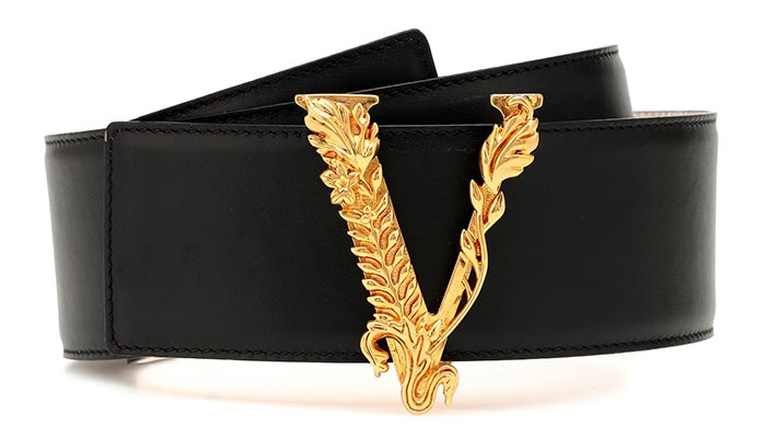 Best Designer Belts for Women: Versace Logo Leather Belt