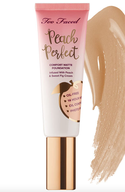 Best Foundation for Oily Skin: Too Faced Peach Perfect Comfort Matte Foundation Peaches and Cream Collection