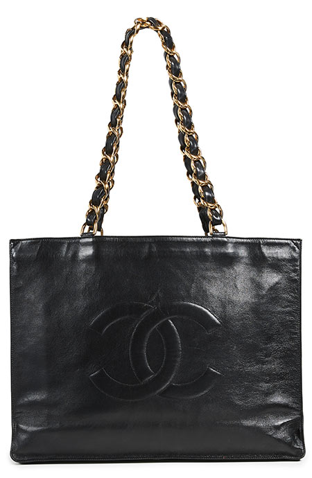 Best Black Tote Bags: Chanel Flat Chain Black Tote Purse