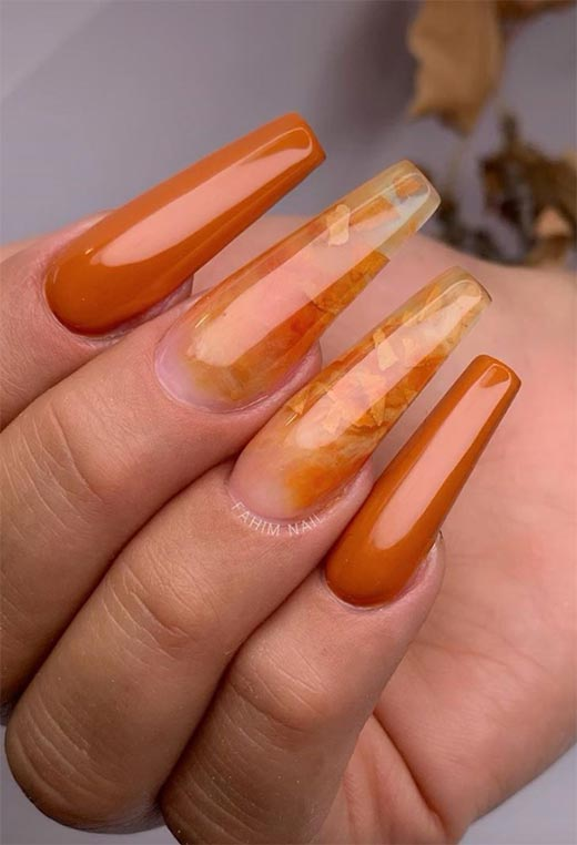 Coffin Orange Tip Nails