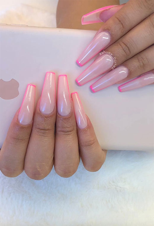 Coffin Nails Designs: Ballerina Nails Ideas: Pink Coffin Nails
