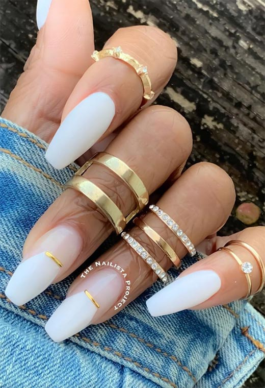 Coffin Nails Designs: Ballerina Nails Ideas: White Coffin Nails