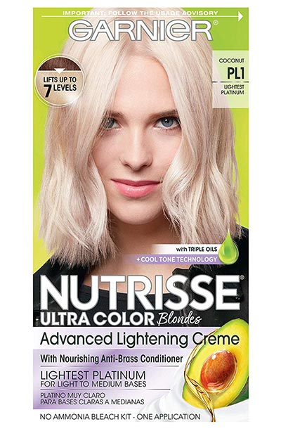 Platinum Blonde Hair Dye Kits: Garnier Nutrisse Permanent Hair Color in Pl1 Ultra Pure Platinum