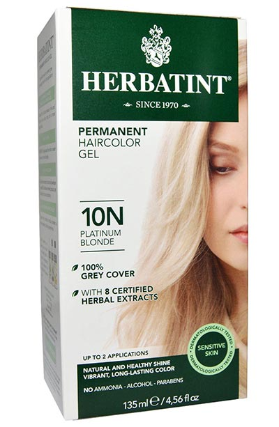 Platinum Blonde Hair Dye Kits: Herbatint Permanent Haircolor Gel in 10N Platinum Blonde 4