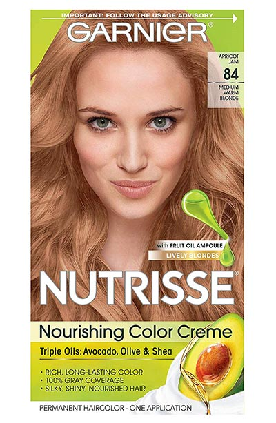 Strawberry Blonde Hair Dye Kits: Garnier Hair Color Nutrisse Nourishing Hair Color Creme in Apricot Jam 84