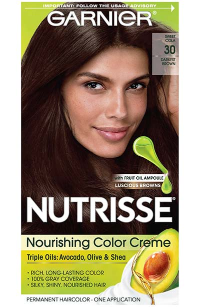 Best Dark Brown Hair Dye Kits: Garnier Nutrisse Nourishing Hair Color Crème in 30 Darkest Brown (Sweet Cola)