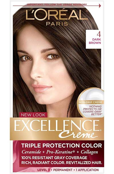 Best Dark Brown Hair Dye Kits: L'Oreal Paris Excellence Creme Permanent Hair Color in 4 Dark Brown