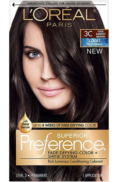 Best Dark Brown Hair Dye Kits: L'Oreal Paris Superior Preference Fade-Defying + Shine Permanent Hair Color in 3C Cool Darkest Brown
