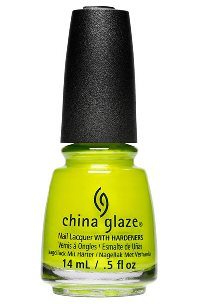 Best Neon Nail Polish Colors: China Glaze Nail Lacquer with Hardeners in Celtic Sun