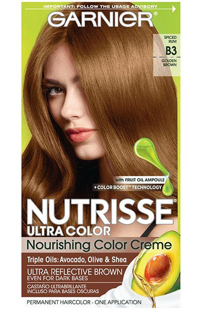 Light Brown Hair Dye Kits: Garnier Nutrisse Ultra Color Nourishing Permanent Hair Color Cream in B3 Golden Brown
