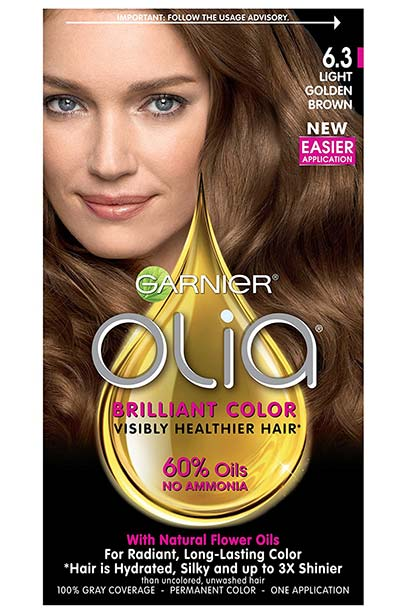 Light Brown Hair Dye Kits: Garnier Olia Ammonia-Free Brilliant Color Oil-Rich Permanent Hair Color in 6.3 Light Golden Brown