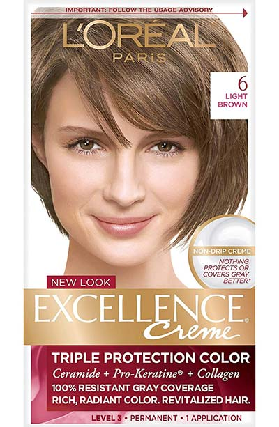 Light Brown Hair Dye Kits: L'Oreal Paris Excellence Creme Permanent Hair Color in 6 Light Brown