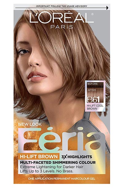Light Brown Hair Dye Kits: L'Oreal Paris Feria Multi-Faceted Shimmering Permanent Hair Color in B61 Downtown Brown