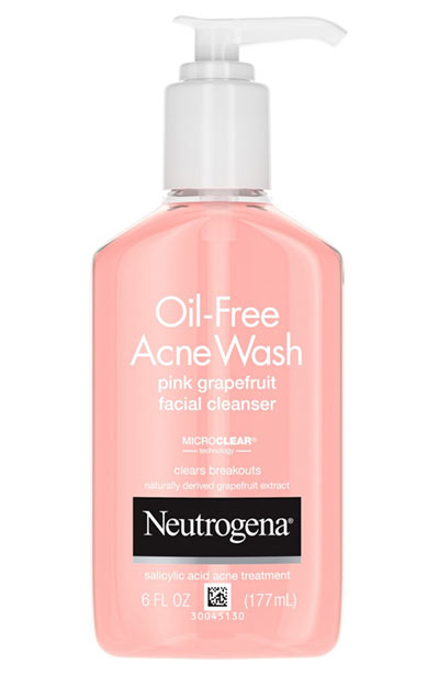 Best Face Washes for Oily Skin: Neutrogena Oil-Free Acne Wash Pink Grapefruit Facial Cleanser