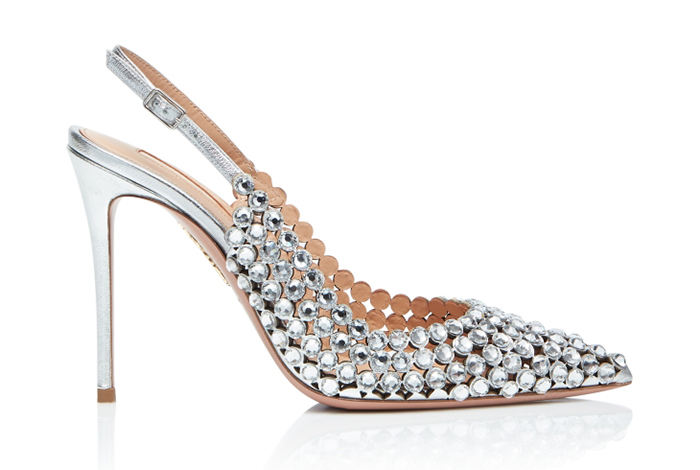 Silver Shoes for Women: Aquazzura Tequila Silver Slingbacks
