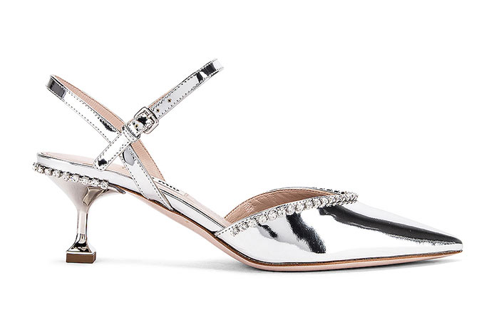 Silver Shoes for Women: Miu Miu Bejeweled Silver Slingbacks