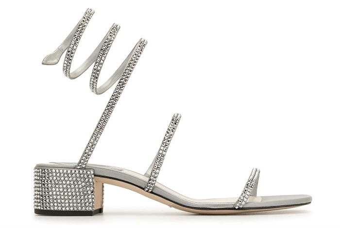 Silver Shoes for Women: René Caovilla Cleo Silver Sandals